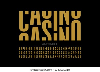 Casino slot machine style font design, alphabet letters and numbers vector illustration