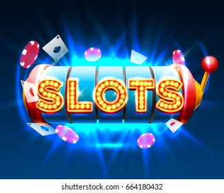 Casino slots object on the blue background, signboard banner. Vector illustration