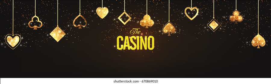 Casino social media banner design decorated with golden glittering playing card symbols.