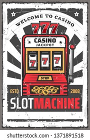 Casino spin slot machine retro vector poster of one armed bandit with jackpot lucky win 777 combination on display, money and gold coins. Gambling industry, online casino or fortune design
