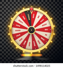 Casino spinning fortune wheel vector realistic illustration. Rotating roulette, lottery game isolated on transparent background. Gambling business. Game of luck playing design element