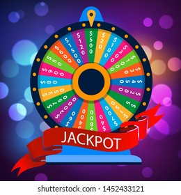 Casino spinning luck wheel or turning fortune roulette for money games entertainment, vector illustration. Jackpot colorful background for casino.