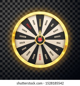 Casino spinning lucky wheel vector realistic illustration. Rotating fortune 3d roulette, lottery game isolated on transparent background. Gambling, game of luck playing design element