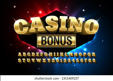 Casino style glossy font design, alphabet letters and numbers