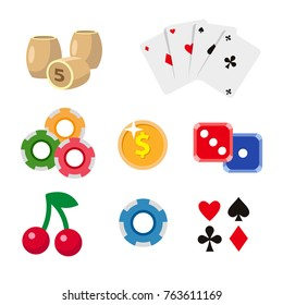 Casino symbols - playing cards, tokens, bingo kegs, dices, jackpot cherry and golden coin, flat style vector illustration isolated on white background. Big set, collection of casino, gambling symbols