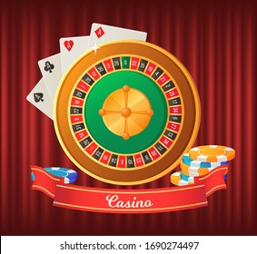 Casino symbols with roulette wheel, chips, roulette. Playing cards suits. Red diamonds and hearts, black clubs and steps. Gambling game vector illustration