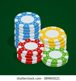 Casino tokens. Poker chips. 3d flat isometric vector illustration