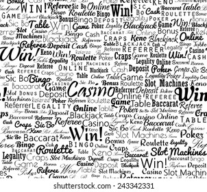 Casino typographic black and white seamless text background. Vector illustration.