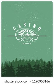 Casino typographical vintage grunge style poster with roulette wheel. Casino label, logo, badge, emblem, sign. Retro vector illustration.