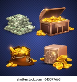 Casino vector 3d signs and money icons. Dollars, gold coins in safe deposit and moneybag