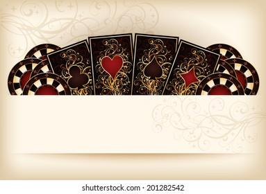 Casino wallpaper with poker elements, vector illustration