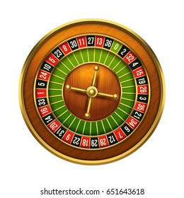 Casino wheel illustration. 3d realistic object, isolated on white background. Eps10 vector.