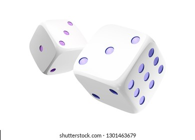 Casino white dice isolated on white background. Online casino dice cubes gambling design. 3d casino element. Vector illustration