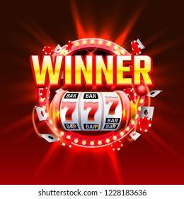casino winner slots 777 banner. Vector illustration
