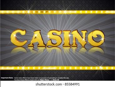 Casino Write in gold shining font