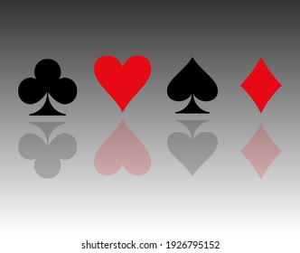 Casino.Colored card suit icon vector, playing cards symbols, vector