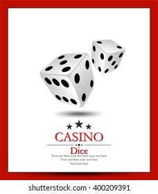 Casino.Vector two whit dice.