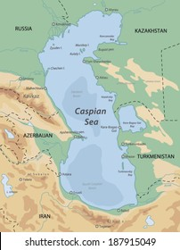 Map Caspian Sea Images, Stock Photos & Vectors | Shutterstock
