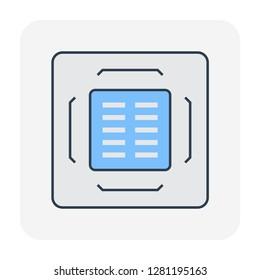 Cassette air conditioner icon, editable stroke.