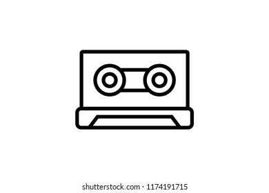 Cassette audio vector icon. Editable Stroke. 128x128 Pixel Perfect.