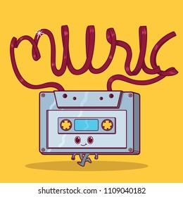 Cassette character vector illustration. Music, vintage, retro, K7, design, lettering design concept