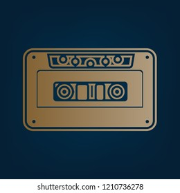 Cassette icon, audio tape sign. Vector. Golden icon and border at dark cyan background.