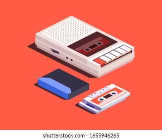 Cassette recorder and cassette tapes. 3d isometric vector illustration.