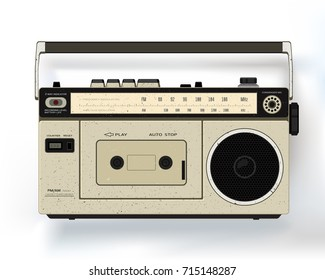 Cassette retro audio recorder. Music player.