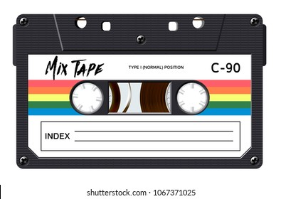 Cassette with retro label as vintage object for 80s revival mix tape design, party poster or cover. Realistic vector sign or icon - Shutterstock ID 1067371025