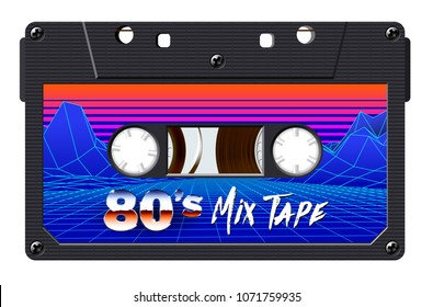 Cassette with retro label as vintage object for 80s revival mix tape design, party poster or cover. Realistic vector sign or icon