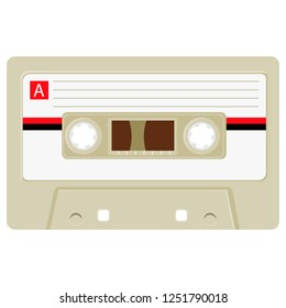 Cassette with retro label as vintage object revival mix tape design, party poster or cover. Realistic vector sign or icon