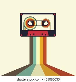 Cassette retro vintage style background vector illustration