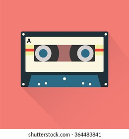 Cassette Tape Icon Flat
