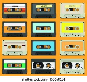 Cassette tape icon set