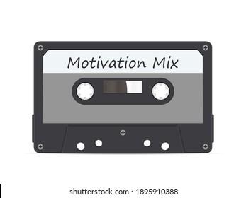 Cassette tape motivation mix on a white background. Vector illustration.