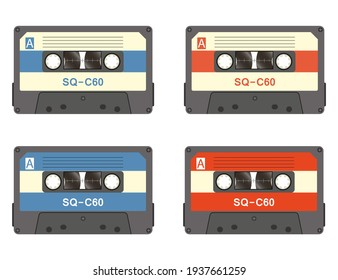Cassette tape recorder retro vintage mixer.Isolated on white background. Flat style front side. Vector illustration