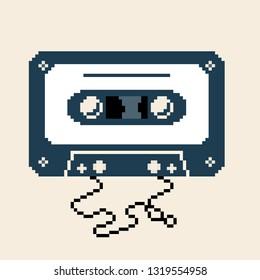 Cassette tape. Retro vintage mixtape . Vector pixel art illustration. 8 bit