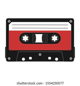 Cassette tape. Vector illustration on isolated white background.