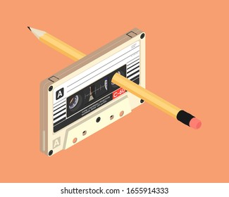 Cassette tape and a yellow pencil. 3D isometric vector illustration.