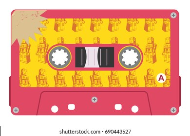 Cassette vector illustration with tin robot label.