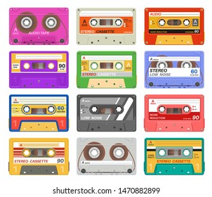 Cassettes. Different color music tape retro audio cassette. Old school 90s record technology vintage media device. Vector outdated equipment taped stereo fashion set