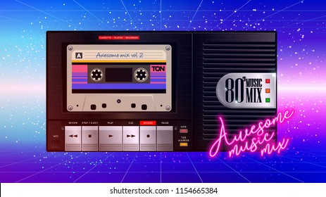 Cassettophone 80's music cover. Awesome mix volume. Retro cassette recorder player trendy background style. Disco party 1980, dance night. Radio popular playlist. Easy editable for Your poster, banner