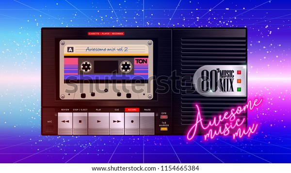 Cassettophone 80s Music Cover Awesome Mix Stock Vector