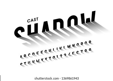 Cast shadow font, alphabet letters and numbers vector illustration