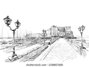 Castel del ovo. Naples. Italy. Hand drawn landmark sketch. Vector illustration.
