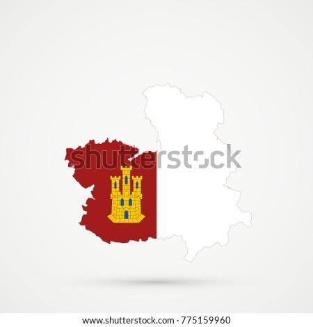 Map Of Spain La Mancha.Castilla La Mancha Spain Map Castilla La Mancha Stock Vector