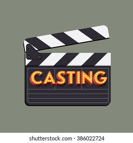 Casting abstract vector illustration with movie clapper board and marquee neon light bulb shining sample title