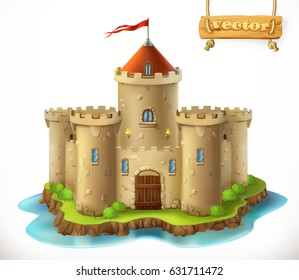 Castle, 3d vector icon
