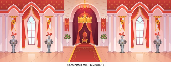 Castle ballroom. Interior medieval royal palace throne royal ceremony room hall kingdom rich fantasy knight game cartoon, vector background