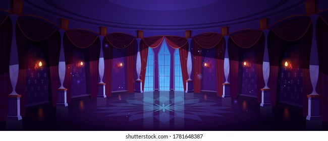Castle ballroom, night empty palace hall interior with glowing lamps, floor-to-ceiling window and curtains. Room with marble pillars and tiled floor, antique architecture. Cartoon vector Illustration